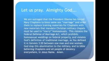 The Evening Prayer - 10 May 11 - Obama forces Homosexual Weddings in Military Chapels