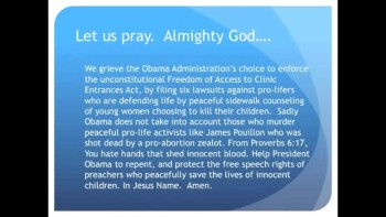The Evening Prayer - 12 May 11 - Obama Sues Pro-life Protesters