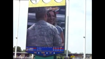 Soldier's Surprise Proposal at Baseball Game