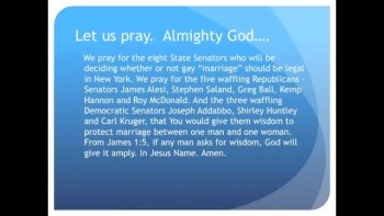 "The Evening Prayer - 07 June 11 -8 Senators Decide N.Y. Homosexual ""Marriage"" Bill"