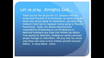 The Evening Prayer - 12 June 11 -Obama: Fund Planned Parenthood or I'll Stop Medicaid