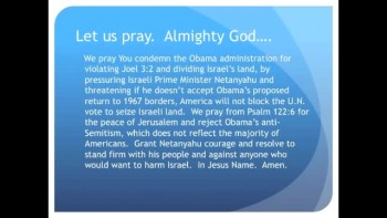 The Evening Prayer - 22 June 11 - Obama Gives Israel 30-days to Forfeit Land, or else
