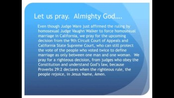 "The Evening Prayer - 23 June 11 - Homosexual Judge ""Unbiased"" when Forcing Homosexual Marriage"