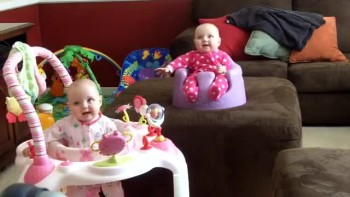 Cute Twin Babies Laughing in Sync