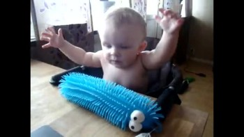 Adorable Baby Is Scared of Toy