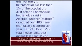 The Evening Prayer - 09 Oct 11 - Census:Only 0.0055 Gay Households for Every 1.0 Heterosexual