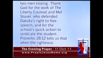 The Evening Prayer - 17 Oct 11 - Texas School Vindicates Student Who Said Homosexuality Is Wrong