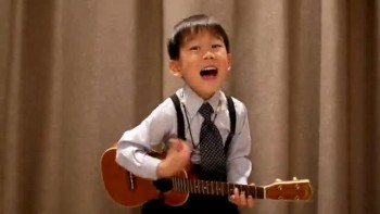 Cute Boy Plays Ukulele - Obladi Oblada