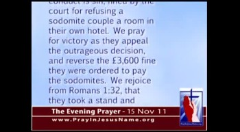 The Evening Prayer - 15 Nov 11 - Christian Hotel Owners Fined for Denying Homosexual Rooms