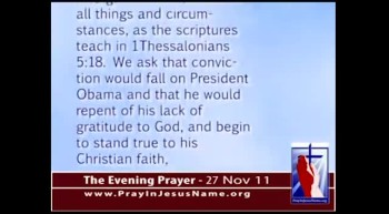 The Evening Prayer - 27 Nov 11 - Obama Leaves God Out of Thanksgiving Speech