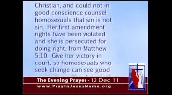 The Evening Prayer -  12 Dec 11 - College punishes Christian Counseling Student for anti-gay beliefs