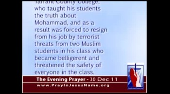 The Evening Prayer - 30 Dec 11 - Christian Religion Professor Forced Out by Muslim Terrorists