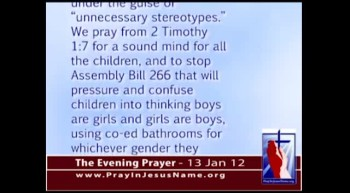 The Evening Prayer - 13 Jan 12 - California seeks Gender 'Liberation' of Kindergarten Kids