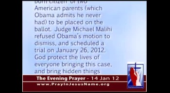 The Evening Prayer - 14 Jan 12 - Georgia Court to Decide if Obama is Natural Born Citizen 
