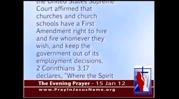 The Evening Prayer - 15 Jan 12 - Victory!  Supreme Court Affirms Churches' Right to Hire and Fire