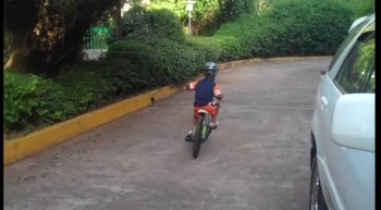 Reese riding his bike for the first time