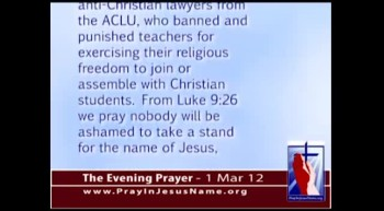 The Evening Prayer - 01 Mar 12 - TN Bill would restore Teachers Rights to join Student-Led Prayers