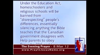 The Evening Prayer - 08 Mar 12 - Christian Parents can't teach Homeschoolers that Homosexual Sex is Sin