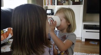 Big sister teaches little sister THE LORD'S PRAYER