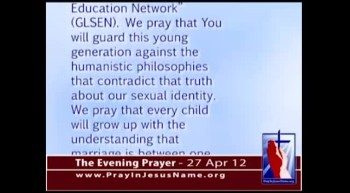 "The Evening Prayer - 27 Apr 12 - ""Day of Silence"" Promotes Homosexuality in Public Schools"