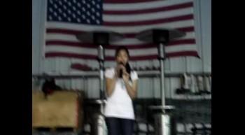 Sandy singing My Freedom
