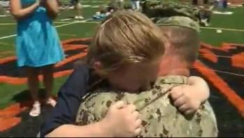 Little Girl Has Emotional Reaction to Her Soldier Daddy's Homecoming