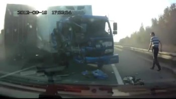 Unbelievable!  Driver Spared by God - Walks Away From Head-On Collision