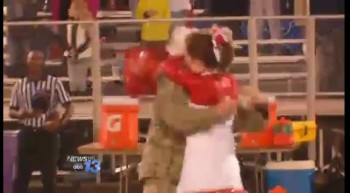 Soldier Father Surprises Cheerleader Daughter