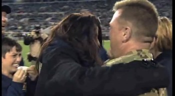 Sailor Surprises Family During Football Game - Priceless Reaction!
