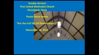 FUMC Sermon - 11/18/2012