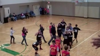 Kid From Church Basketball Team Makes AMAZING Buzzer Shot!