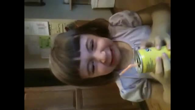 3 year old drinks prune juice for the first time.