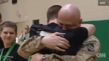 Soldier Surprises His Sons at School