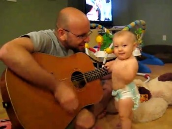 Adorable Baby LOVES Rock 'N Roll!