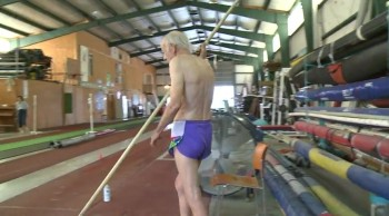 AMAZING 90 Year-Old Man Pole Vaults!