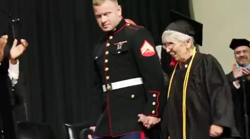 US Marine Surprises Graduating Grandmother