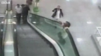 Hero Catches Toddler Falling From the Top of an Escalator - An Angel!