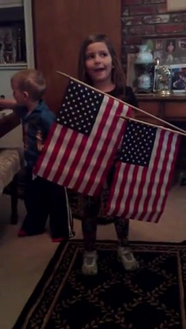 Adorable 5 yr. old sings 'Grand Old Flag'