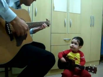 ADORABLE 2 Year-Old Plays Guitar and Sings a Beatles Song With His Daddy