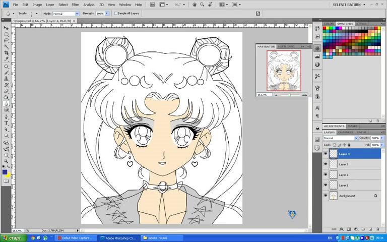 Sailor Moon - Selenit Saturn season2 - adobe photoshop drawings