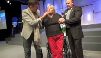 Cerebellum brain injury miracle healing and lady walks out of wheelchair