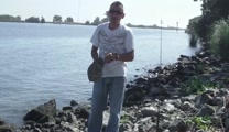Brother Adrian praising God at Fishing trip