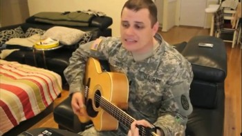 Deployed Soldier Sings God Gave Me You For His Sweetheart