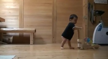 Cat Teaches Baby to Walk! So Cute