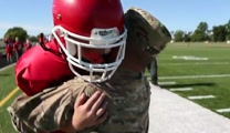 Soldier Surprises Son on Football Field