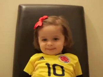 2-year Old Cutie Has Lots of Team Spirit. . . And Big Wishes for Her Daddy!