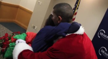 Soldier Disguised as Santa Gives Mom a Big Surprise