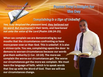 Complaining is a Sign of Unbelief