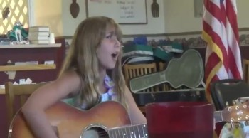 10 year Old Girl Plays Guitar for 1st Time