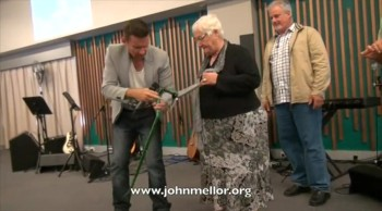 Painful hip and knees healed & no more walking stick - John Mellor Australian Healing Evangelist